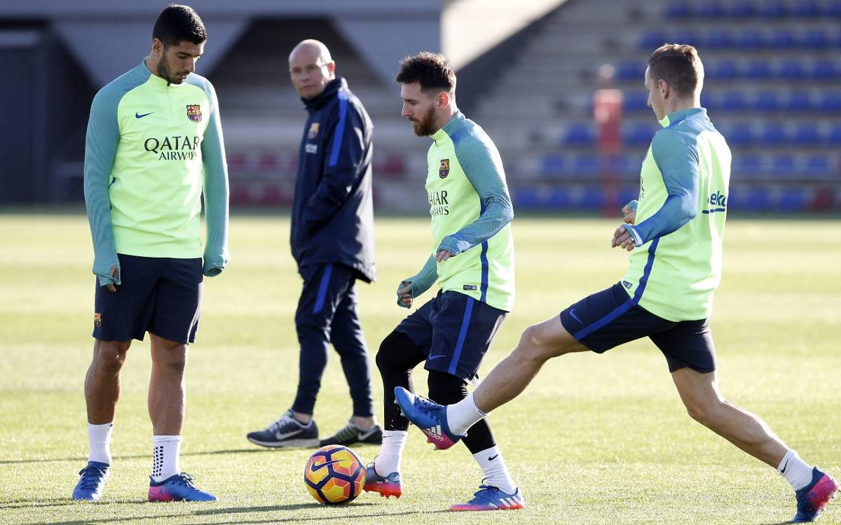 El pla d'entrenaments d'una setmana marcada pels dos partits de Lliga al Camp Nou