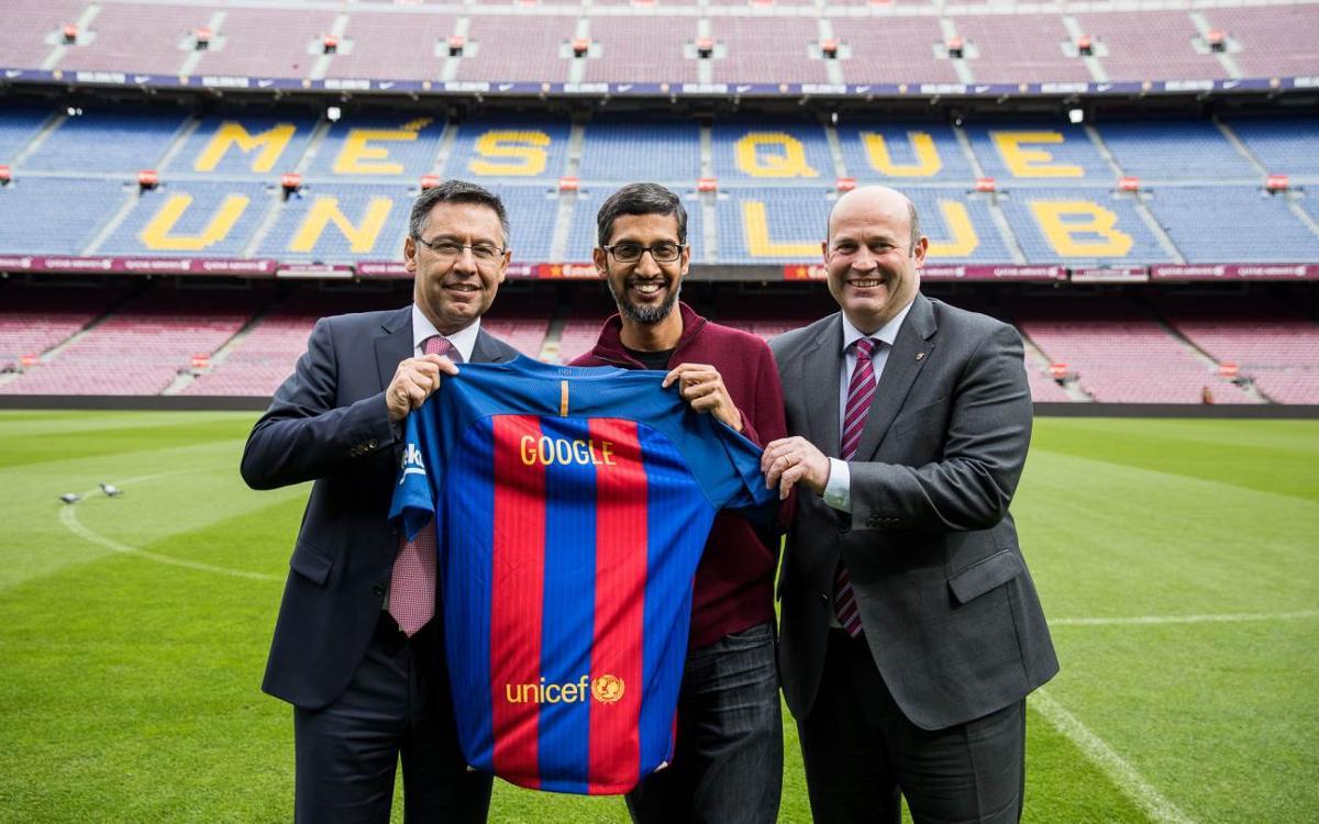 Visite du Président-Directeur Général de Google, Sundar Pichai, au sein des installations du FC Barcelone
