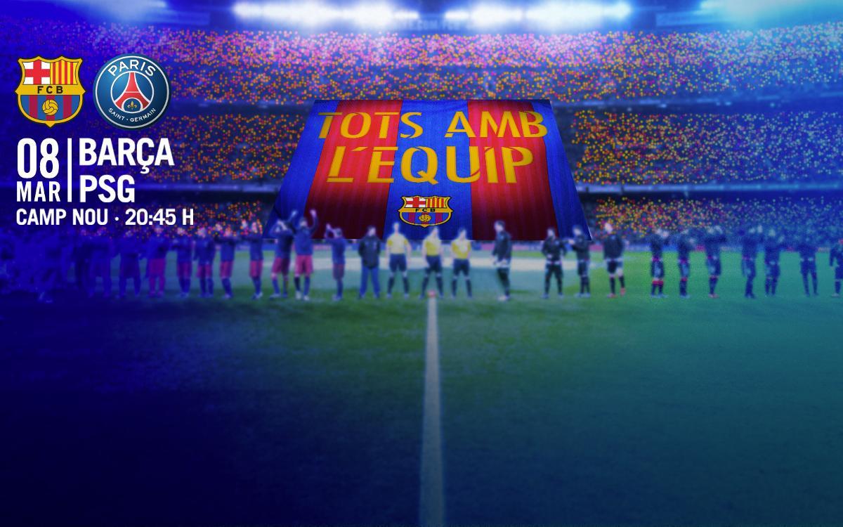 El Camp Nou, al costat del Barça amb el tifo 'Tots amb l'equip' i 80.000 banderetes