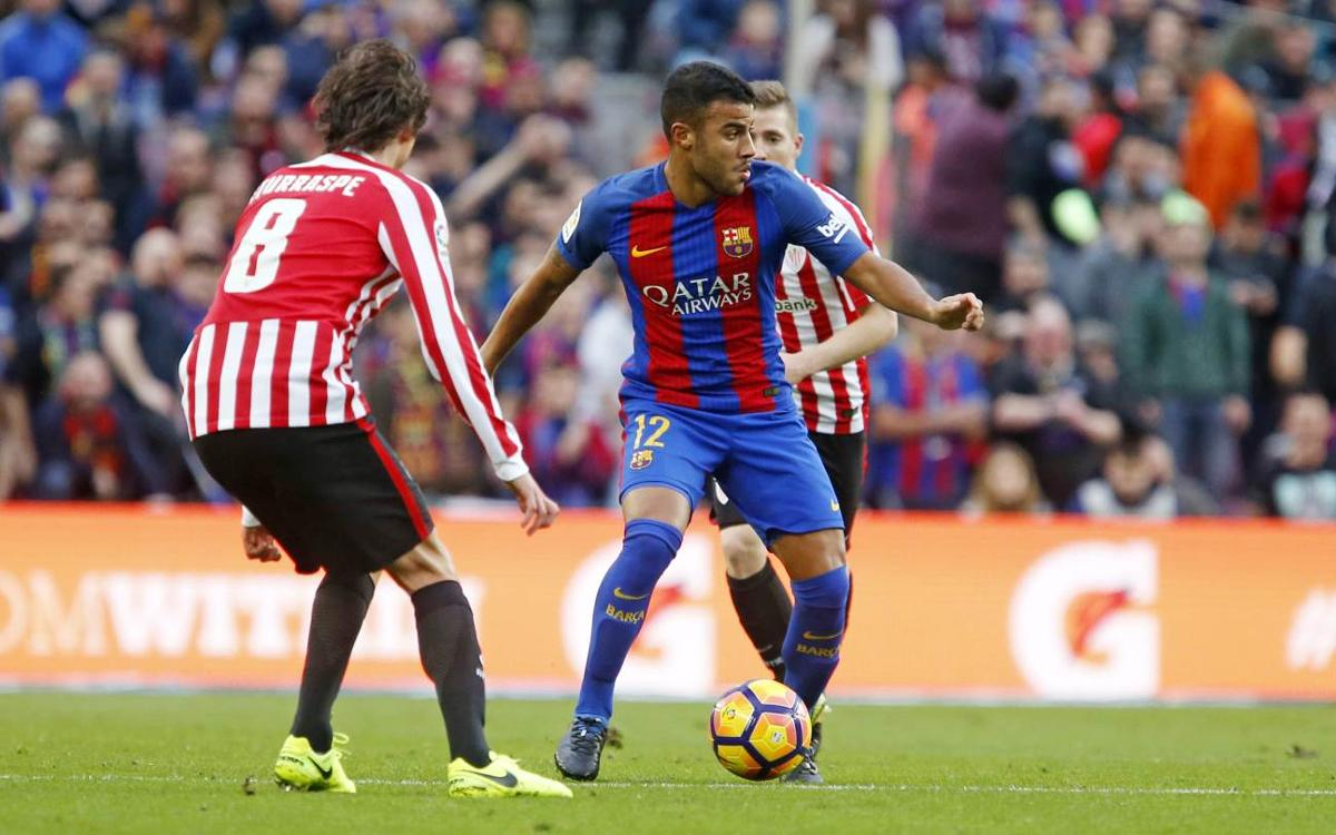 FC Barcelona's Rafinha has a fractured nose