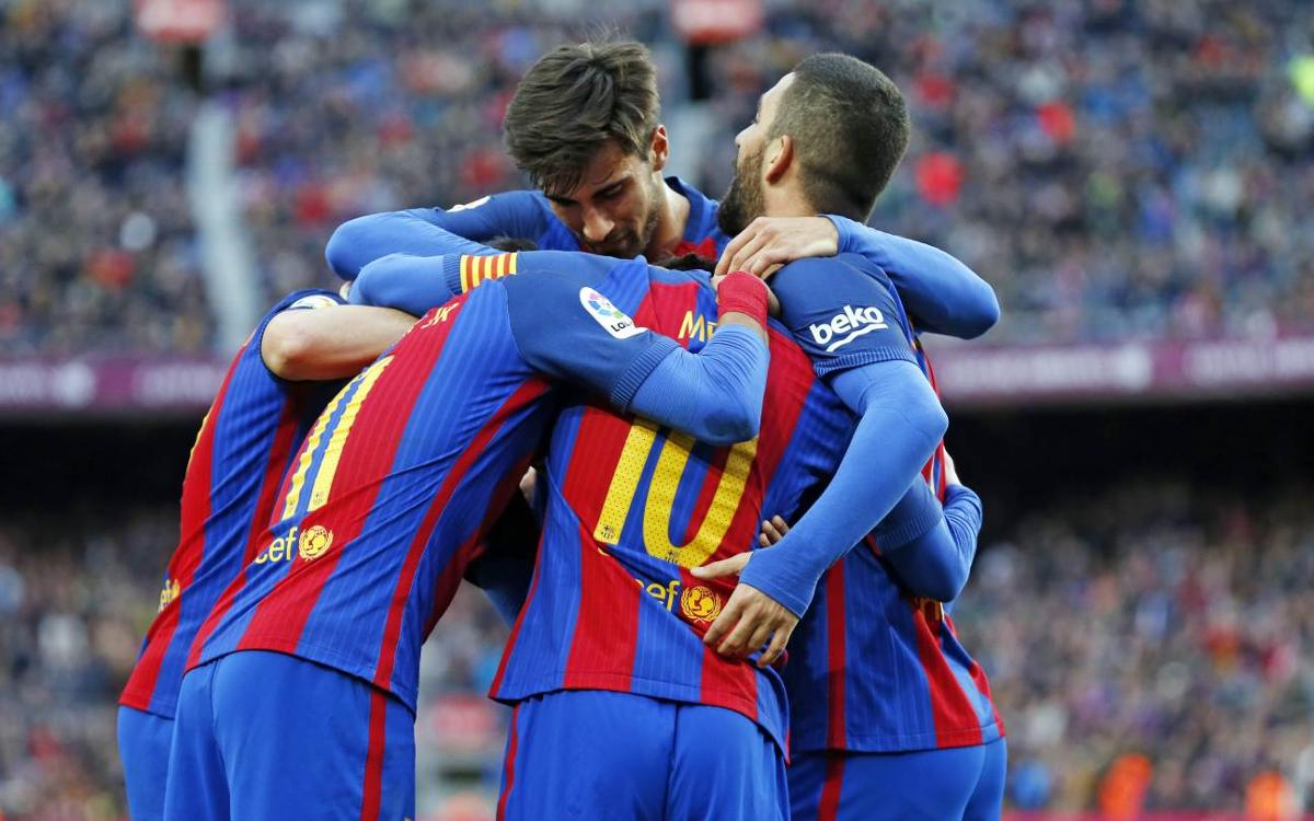 FC Barcelona have reached the 100 goal mark for the season
