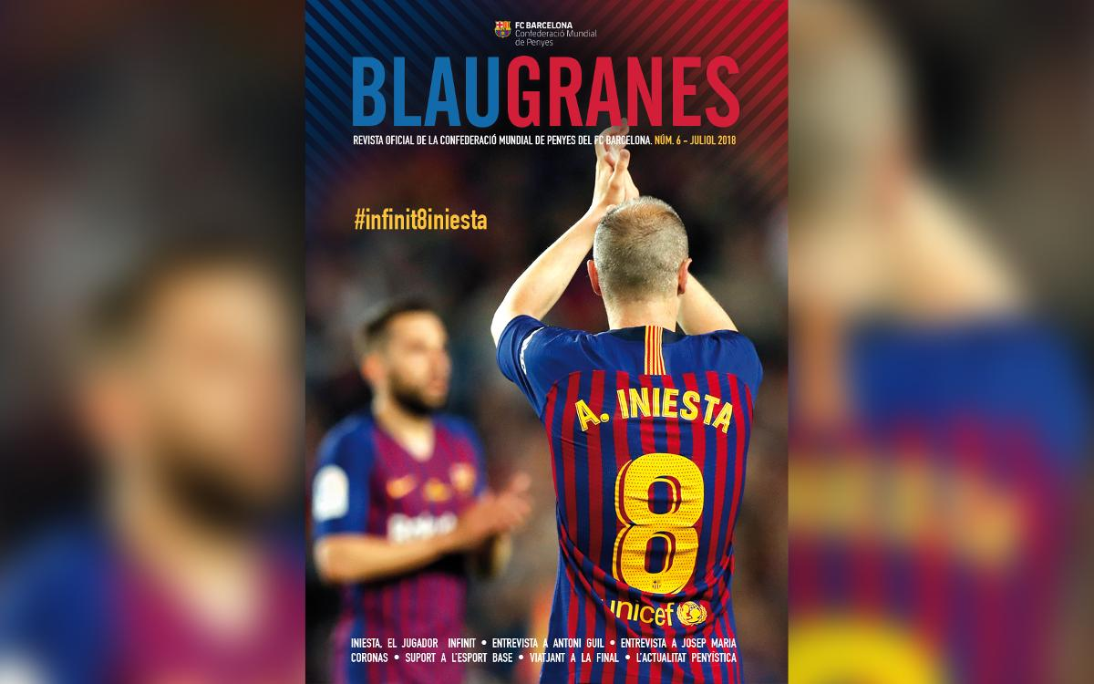 Andrés Iniesta on cover of issue six of Blaugranes magazine