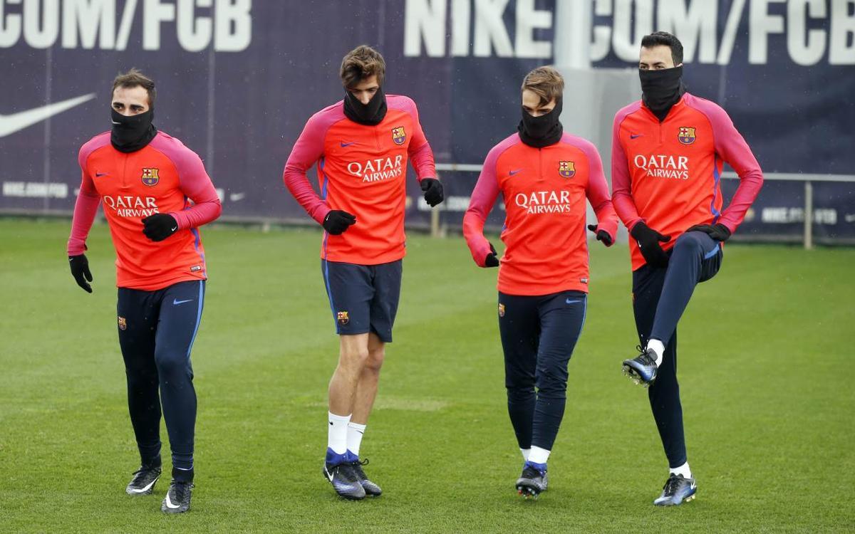 Último entrenamiento antes de la Copa del Rey