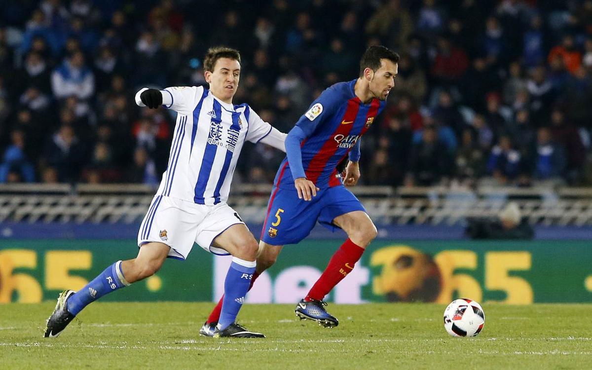 FC Barcelona players jubilant after Copa del Rey triumph at Real Sociedad