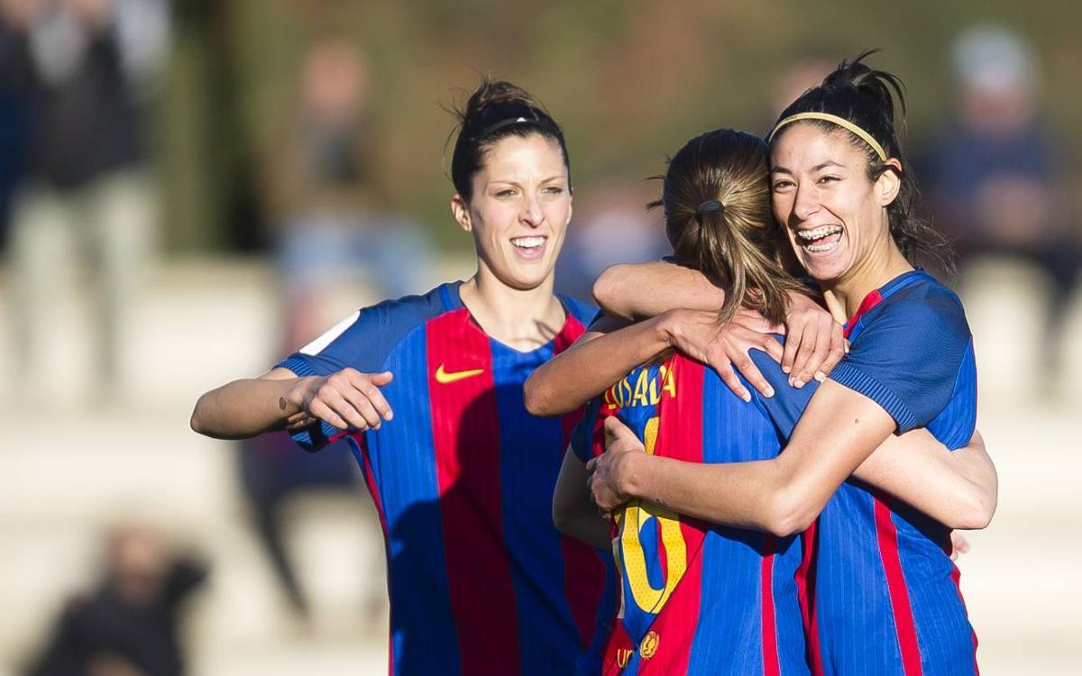 La selección española femenina golea a Suiza con ocho azulgranas (8-1)