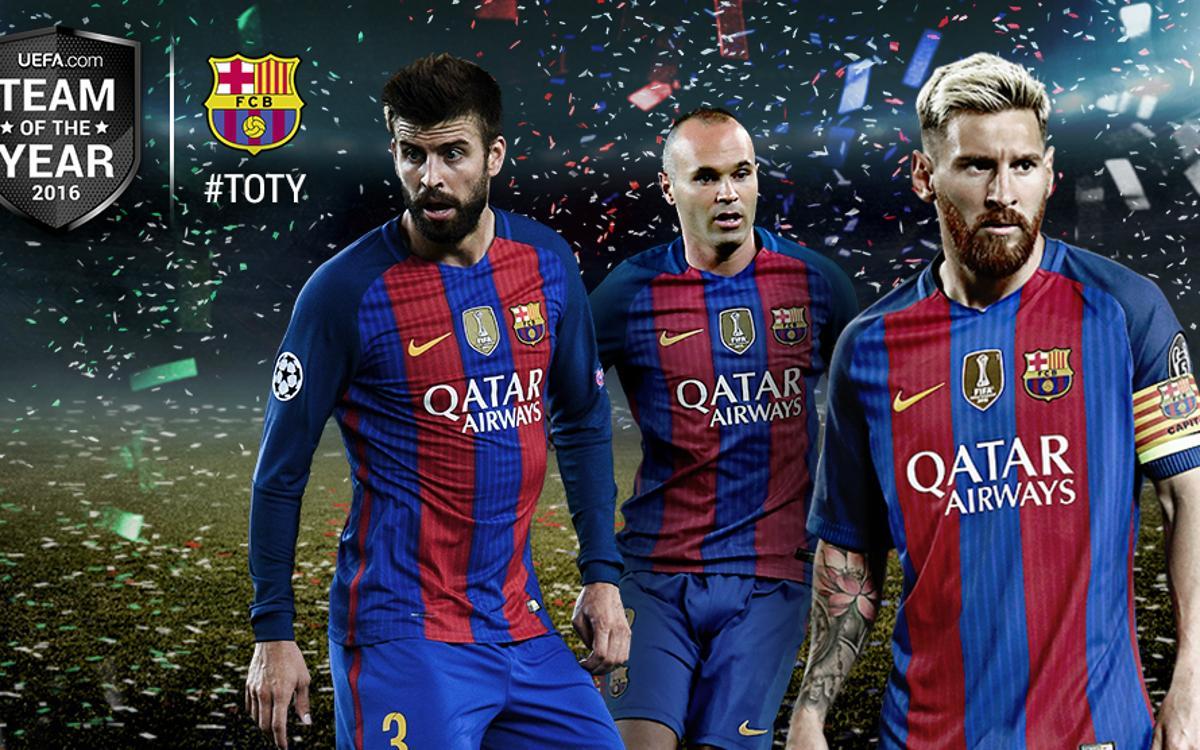 Gerard Piqué, Andrés Iniesta i Leo Messi, a l'onze de l'any de la UEFA