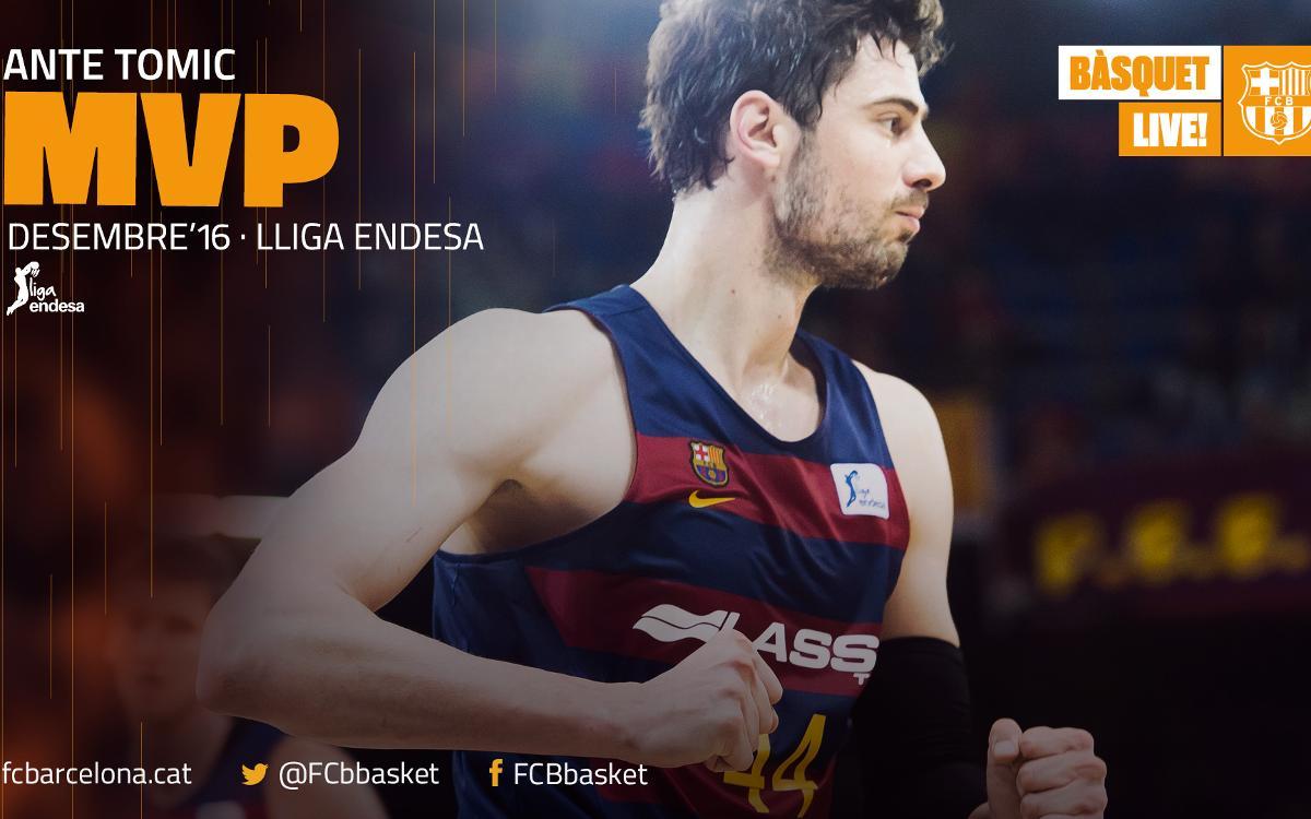 Ante Tomic, MVP del mes de desembre a la Lliga Endesa