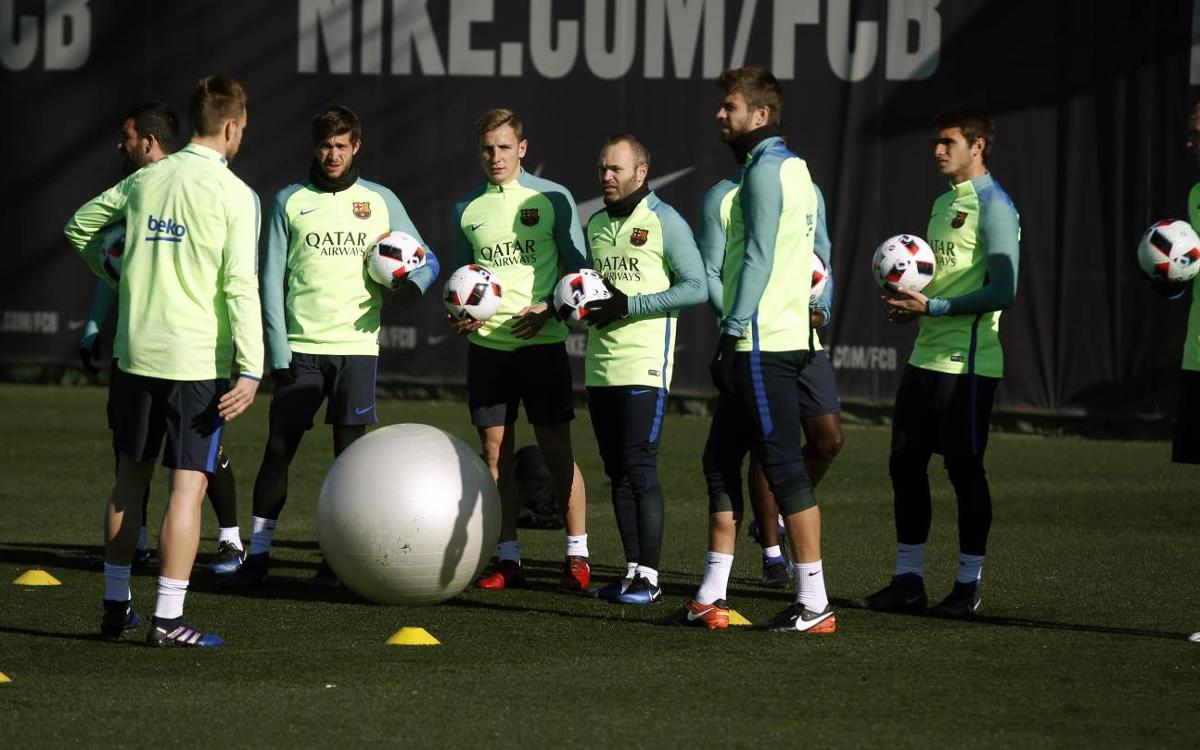 FC Barcelona back at training in preparation for Copa del Rey first leg at Real Sociedad
