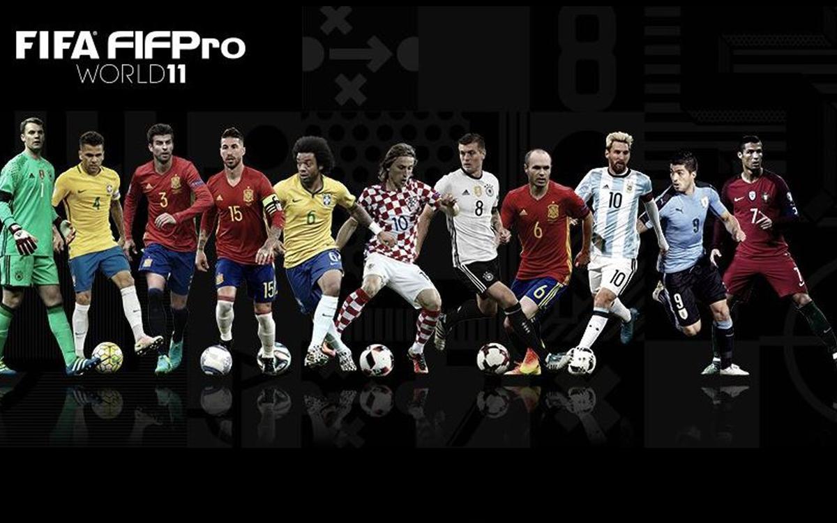 ピケ、イニエスタ、スアレス、メッシ、FIFAベストイレブン