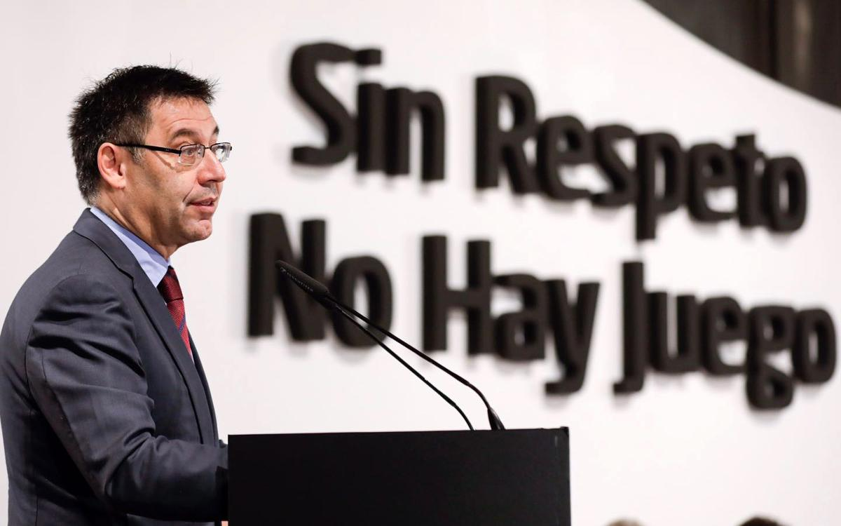Bartomeu takes part in presentation of the campaign to fight racism, 'No respect, no game'