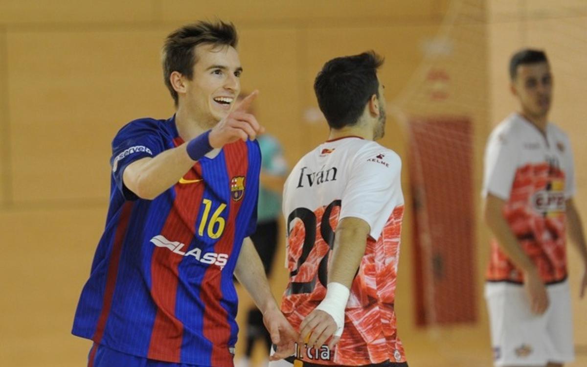 El Barça B brilla en la victòria contra ElPozo (7-1)