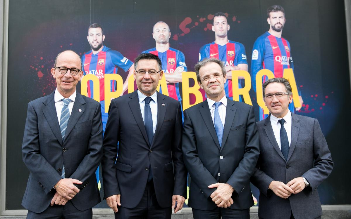 """El FC Barcelona i la Fundació renoven l'acord amb Caixabank i la Fundació bancària """"La Caixa"""" per quatre anys més"""