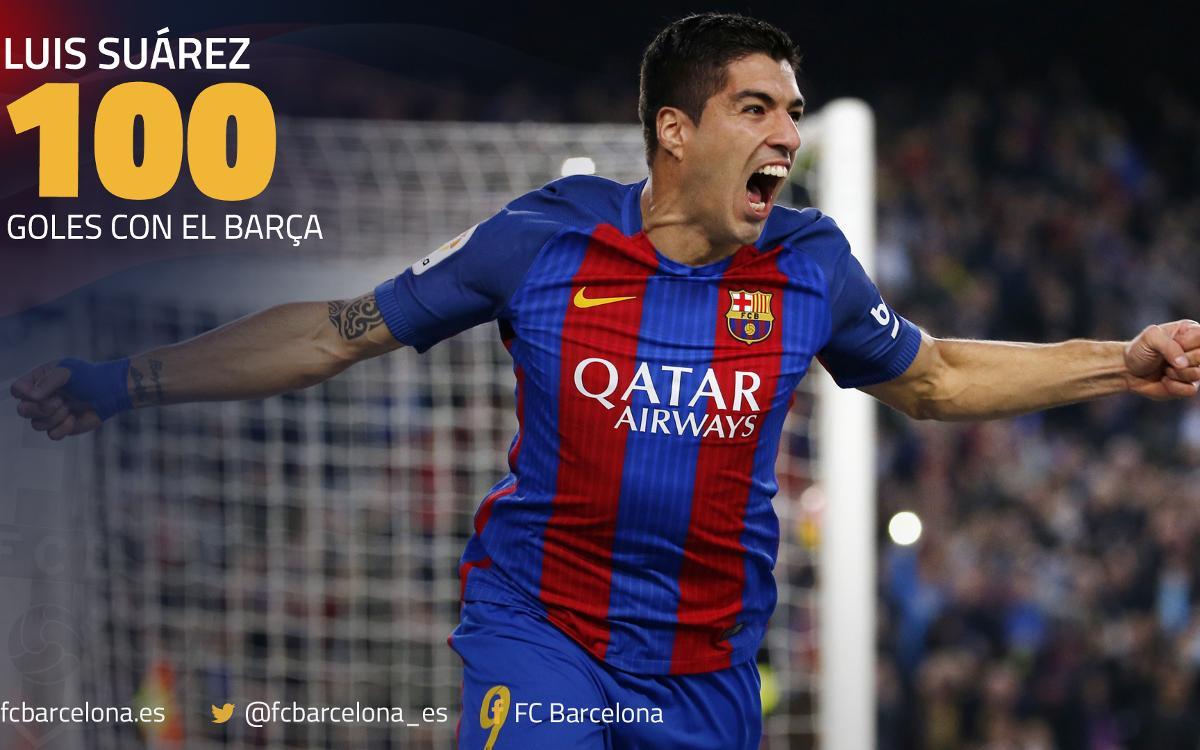 Los 100 goles de Luis Suárez con el Barça, al detalle