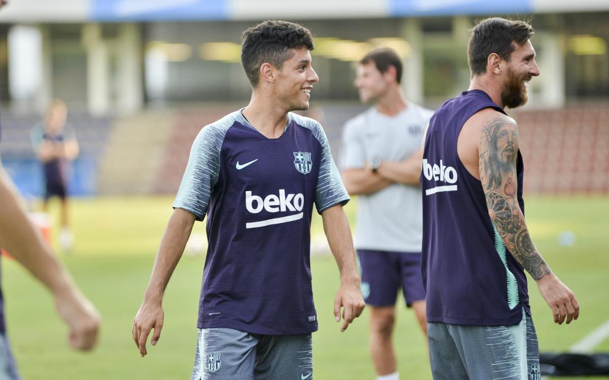 Entrenament conjunt amb el Barça B de Messi, Piqué, Sergio, Jordi Alba i Sergi Samper