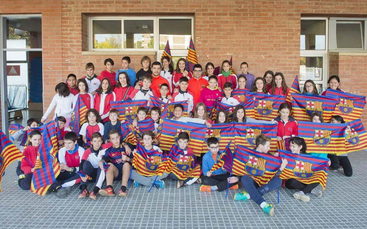 Marc Gual i Pau Bargalló visiten l'escola Cristòfor Mestre de Vilafranca