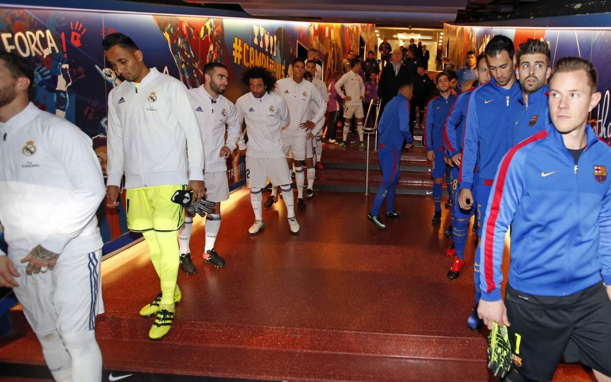 In the tunnel before the start of the Clásico