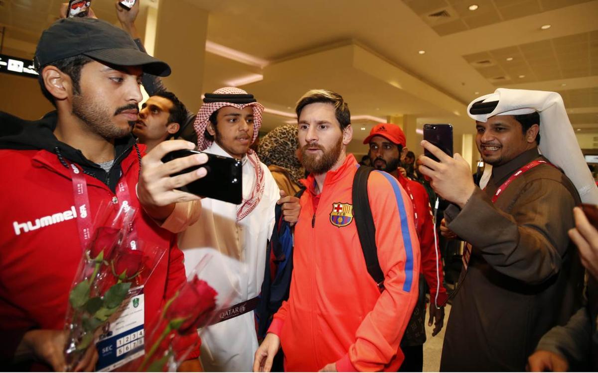 FC Barcelona arrive in Doha