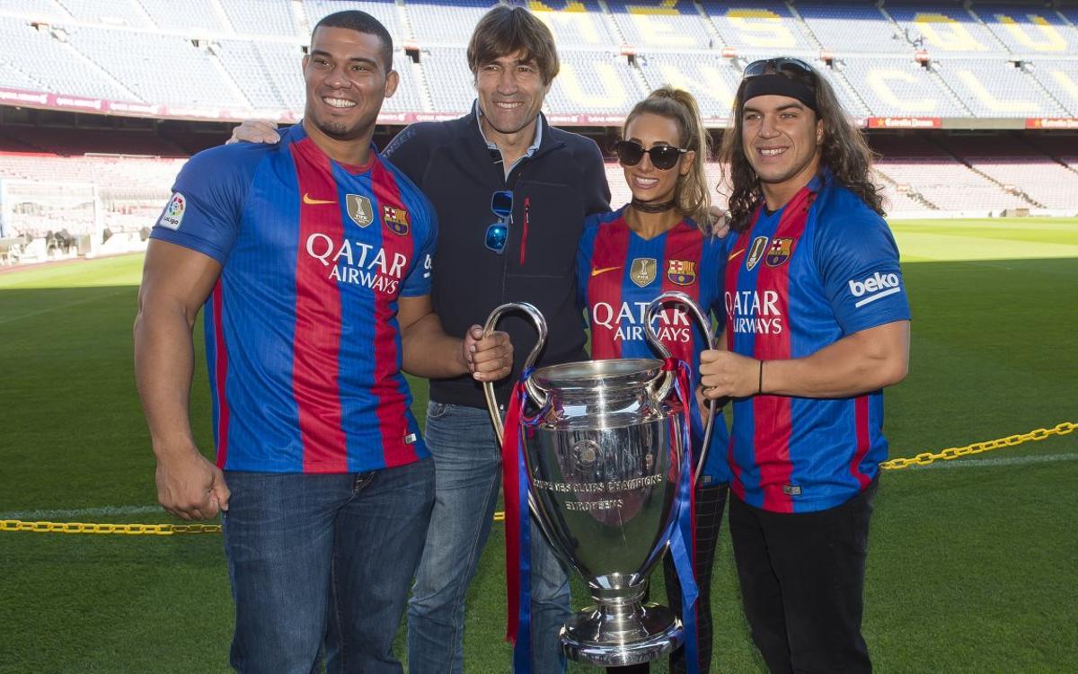 WWE wrestlers visit FC Barcelona's Camp Nou stadium