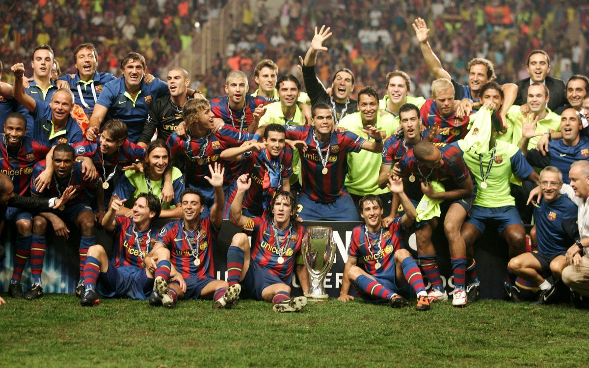 Barça celebrate 2009/10 UEFA Super Cup title, won thanks to a Pedro goal in extra time against Ukrainian side Shakhtar Donetsk