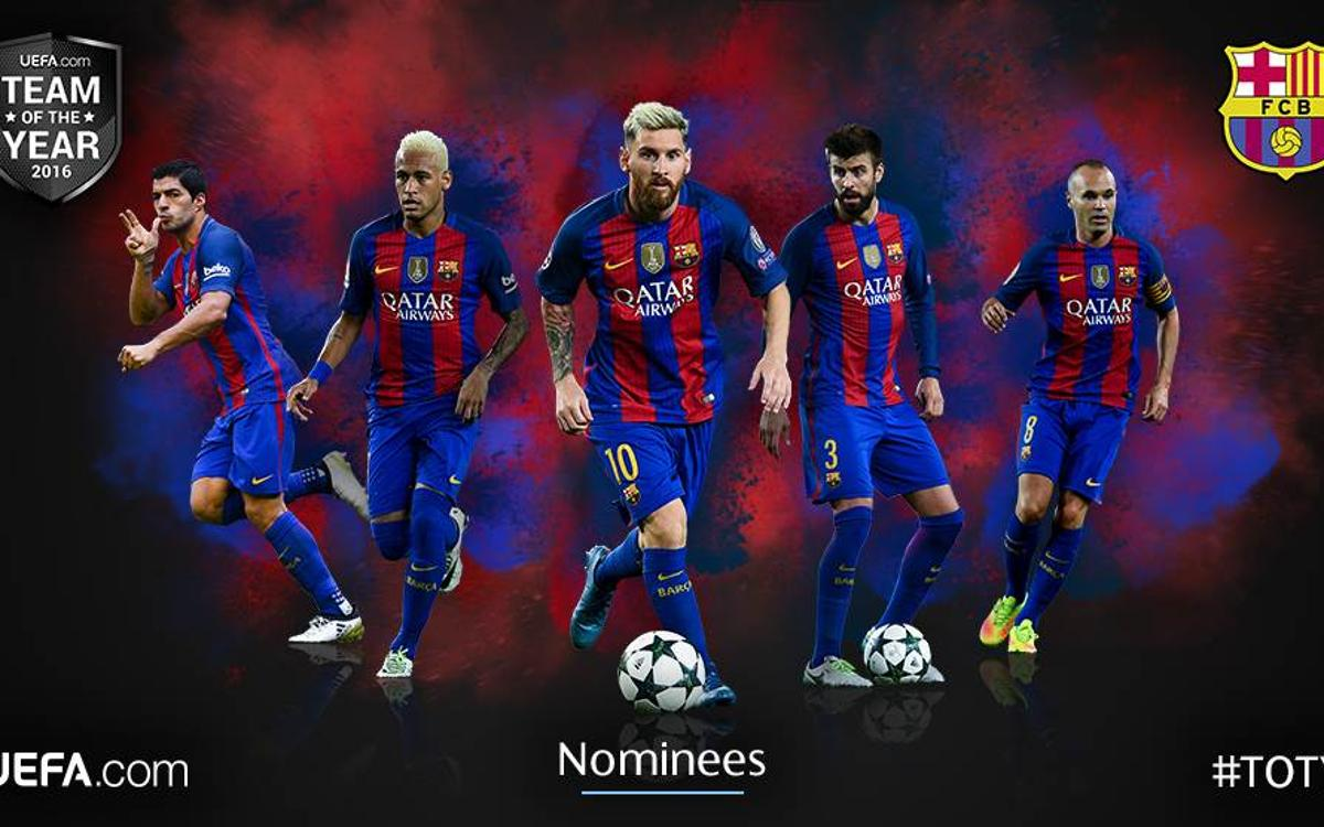 Leo Messi, Andrés Iniesta, Neymar Jr, Luis Suárez and Gerard Piqué, nominated for UEFA.com Team of the Year 2016