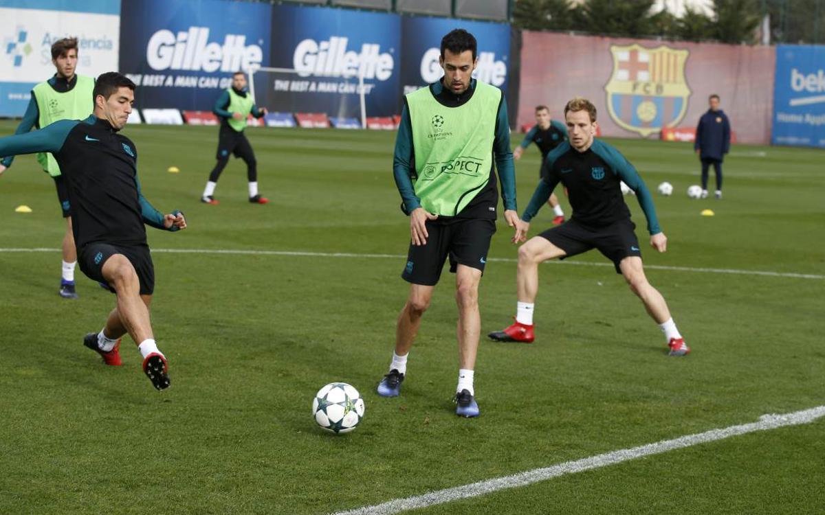 FC Barcelona train for last time before Borussia Mönchengladbach
