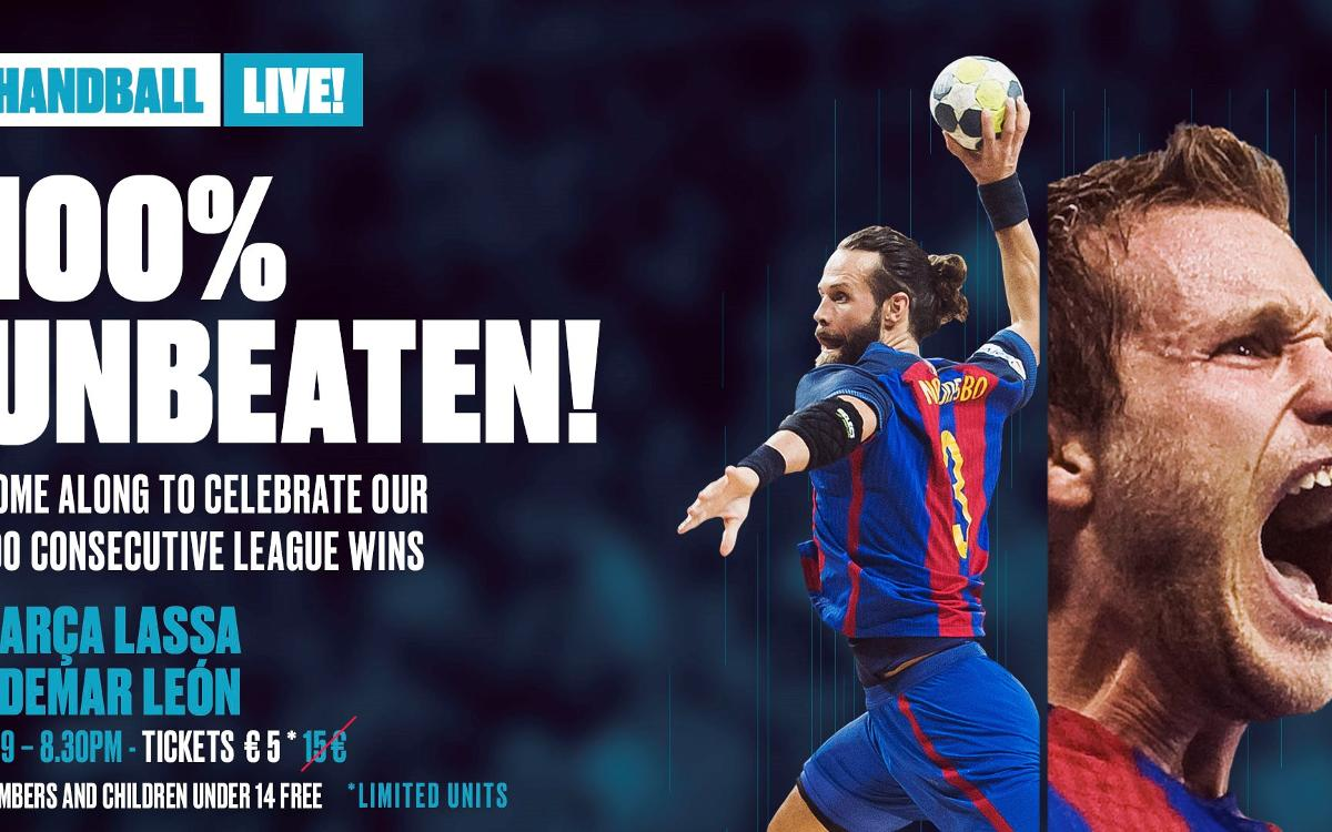 Come celebrate the FC Barcelona handball team's 100th consecutive league victory