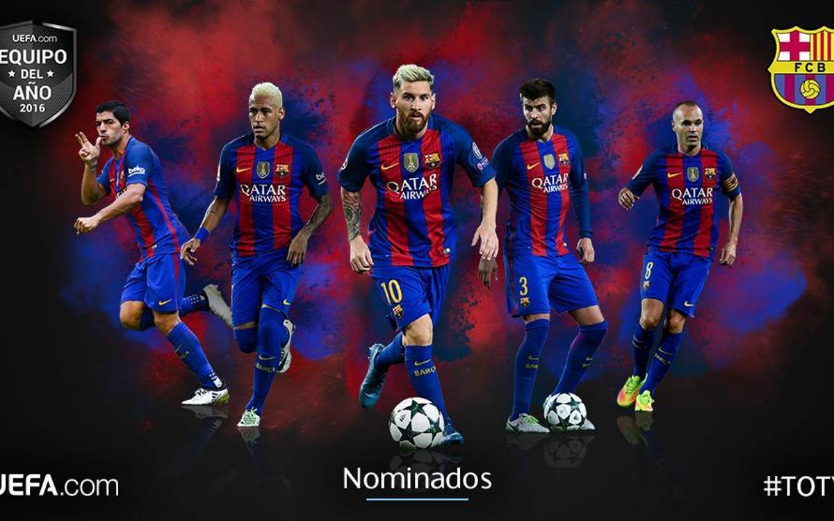 メッシ、イニエスタ、ネイマールJr、スアレス、ピケが UEFA 2016ベストチームにノミネート