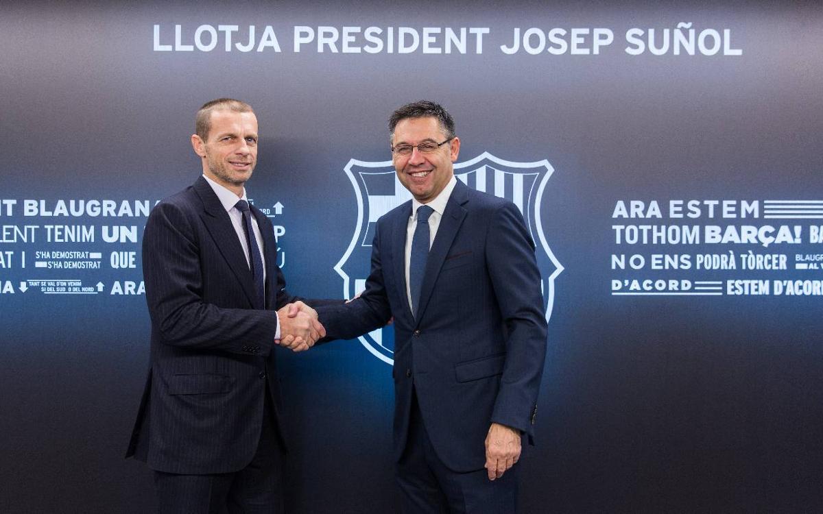 Encuentro institucional con el presidente de la UEFA en el Camp Nou