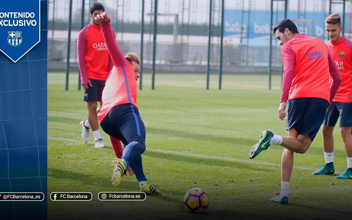 Tres rondos perfectos de los jugadores del FC Barcelona