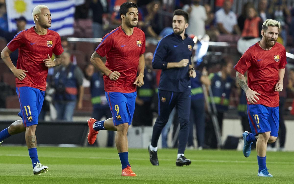 Así calienta el tridente del FC Barcelona