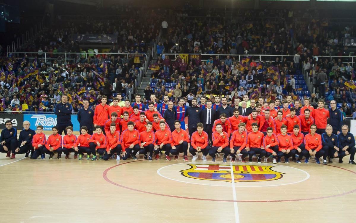 Els equips de l'hoquei formatiu, presentats al Palau Blaugrana