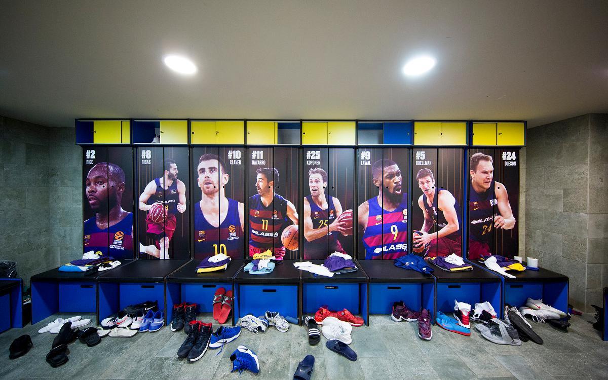La nova imatge de les taquilles del vestidor del Barça de bàsquet