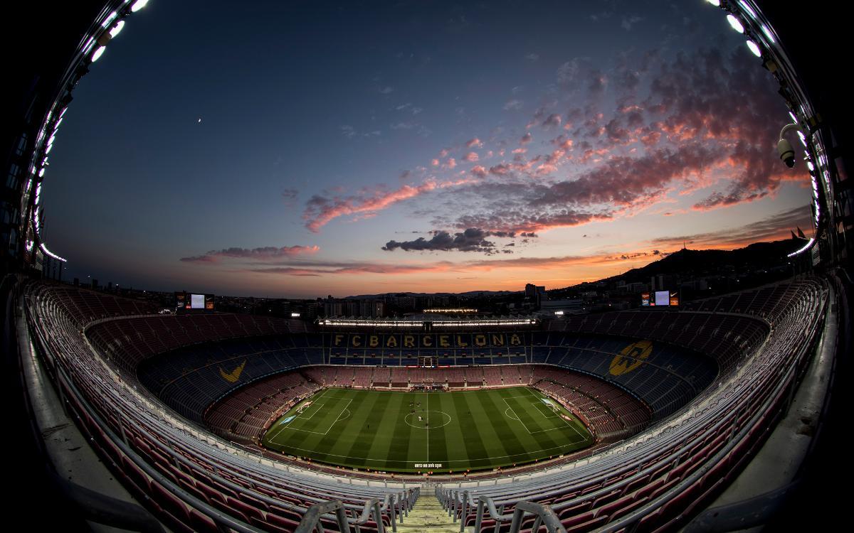 Una imagen del Camp Nou, con el formato 'ojo de pez'