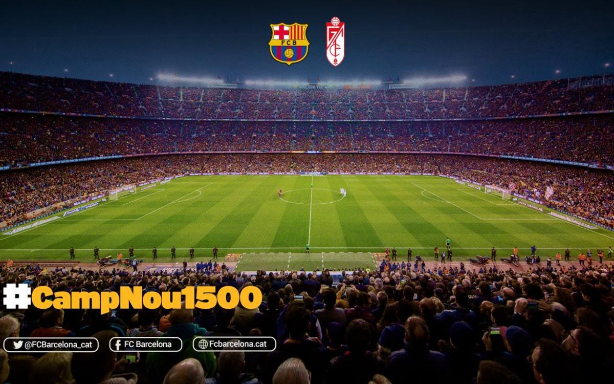 FCバルセロナ-グラナダ戦、カンプノウでの1.500 試合目