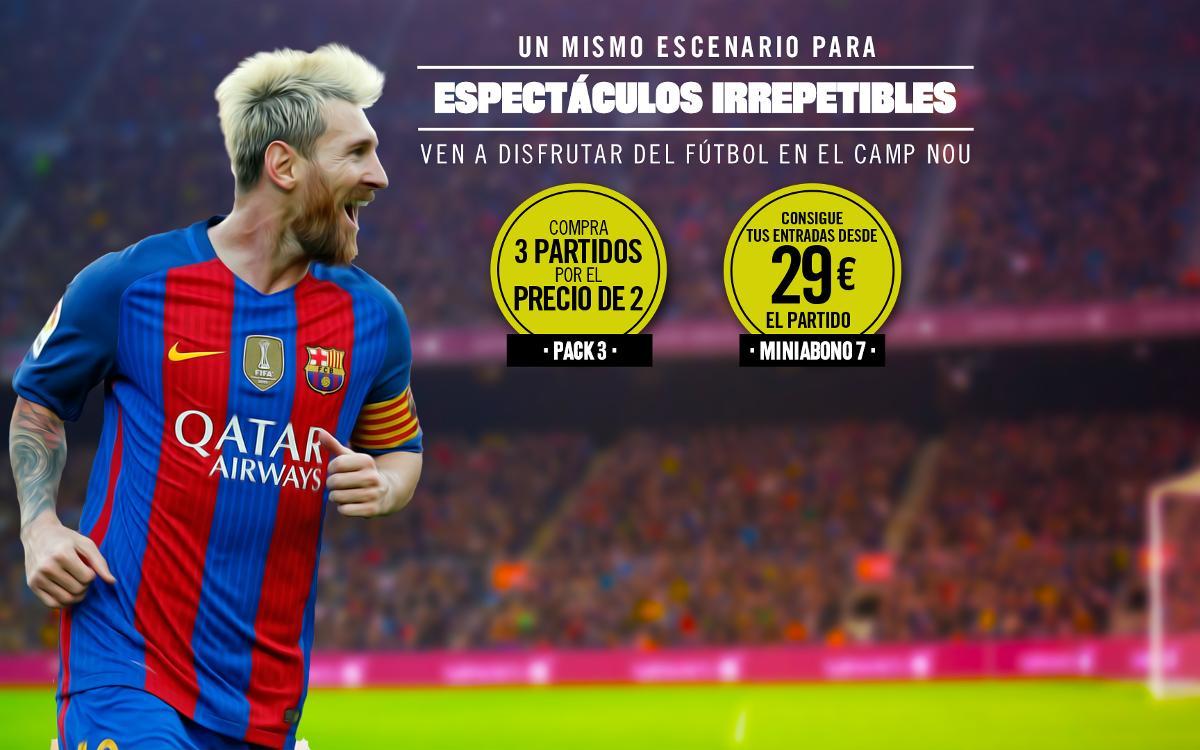 Los socios ya pueden adquirir los packs de entradas para los partidos del Camp Nou