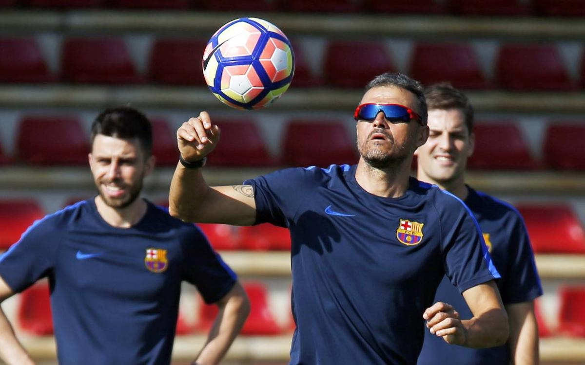 Super-charged Luis Enrique during FC Barcelona training session