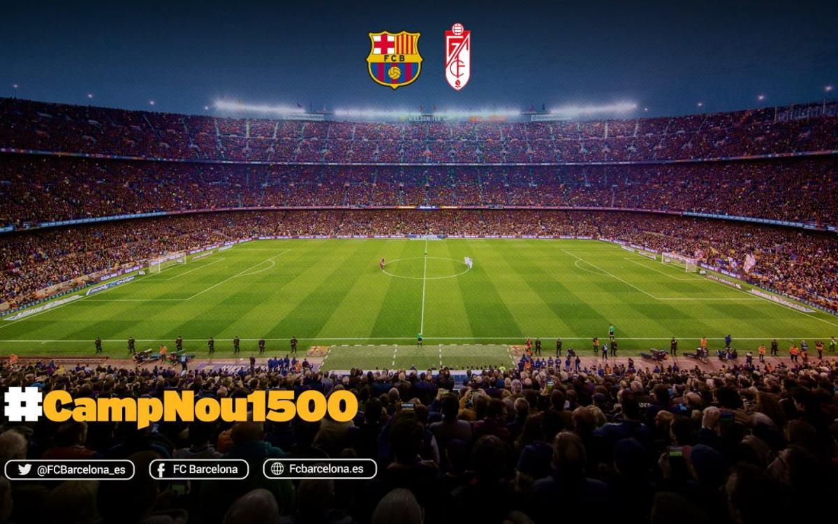 El FC Barcelona-Granada será el partido 1.500 en el Camp Nou