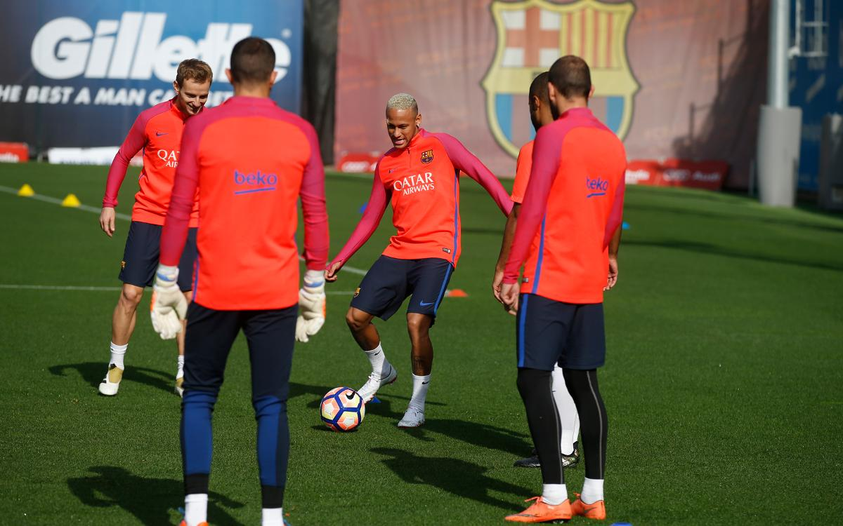 Neymar Jr back at training