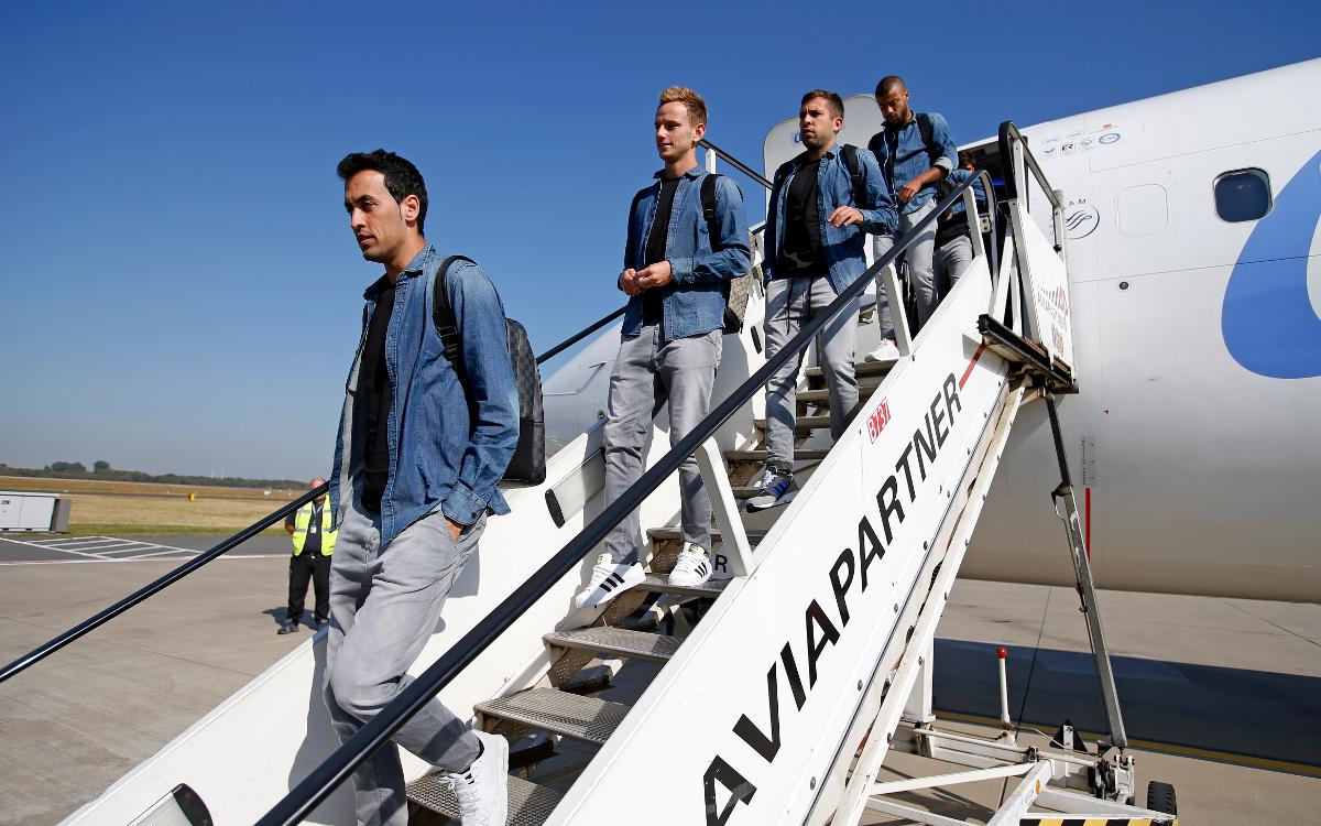 FC Barcelona have arrived in Mönchengladbach