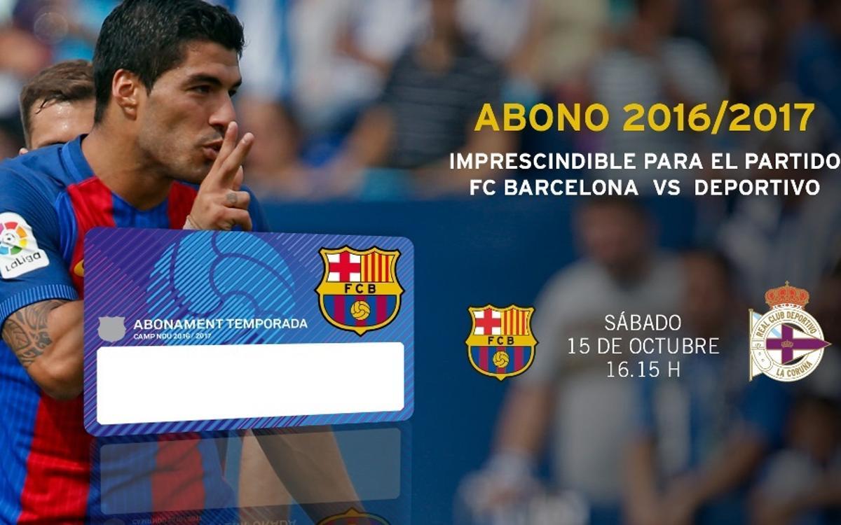 El nuevo abono de la temporada 2016/17 será imprescindible para el partido contra el Deportivo