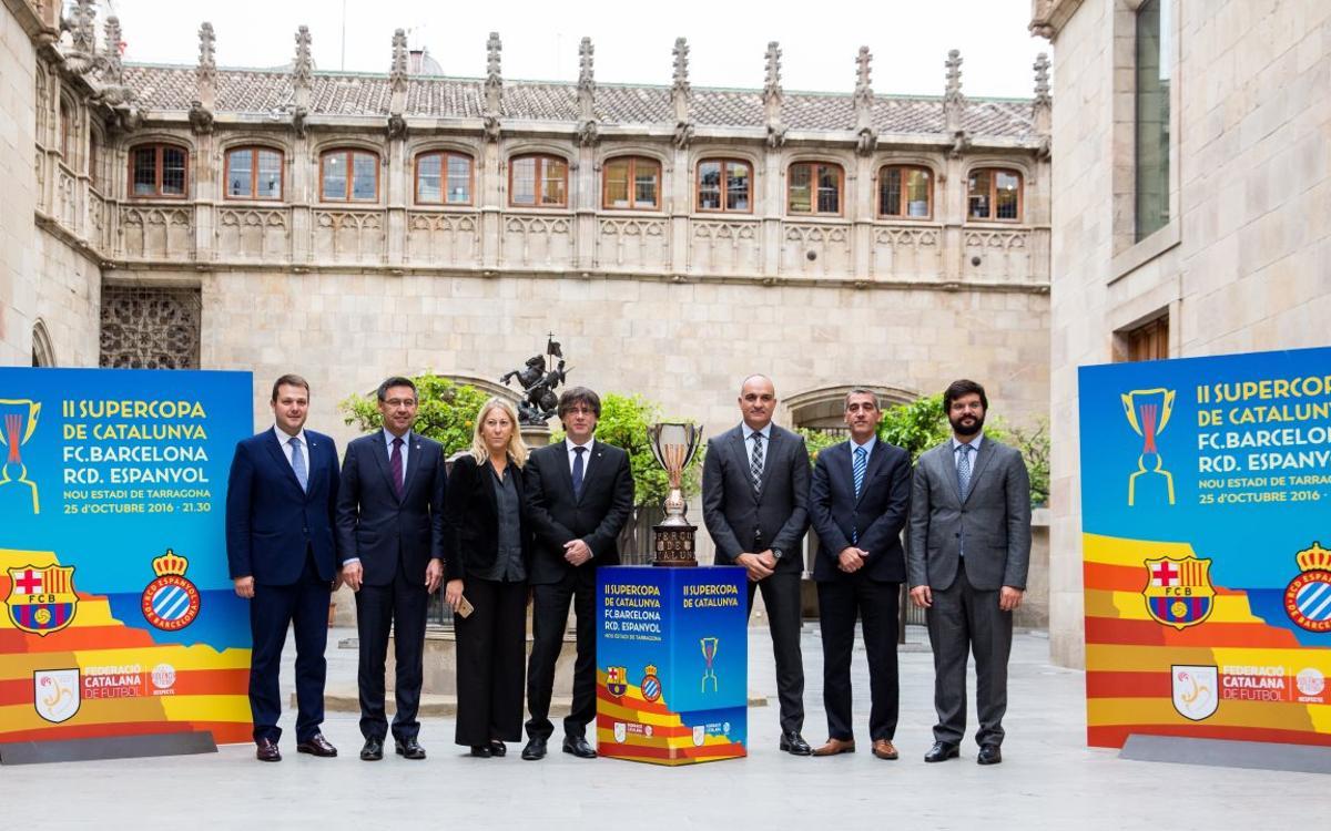 Josep Maria Bartomeu, en la presentación de la Supercopa de Catalunya en el Palau de la Generalitat