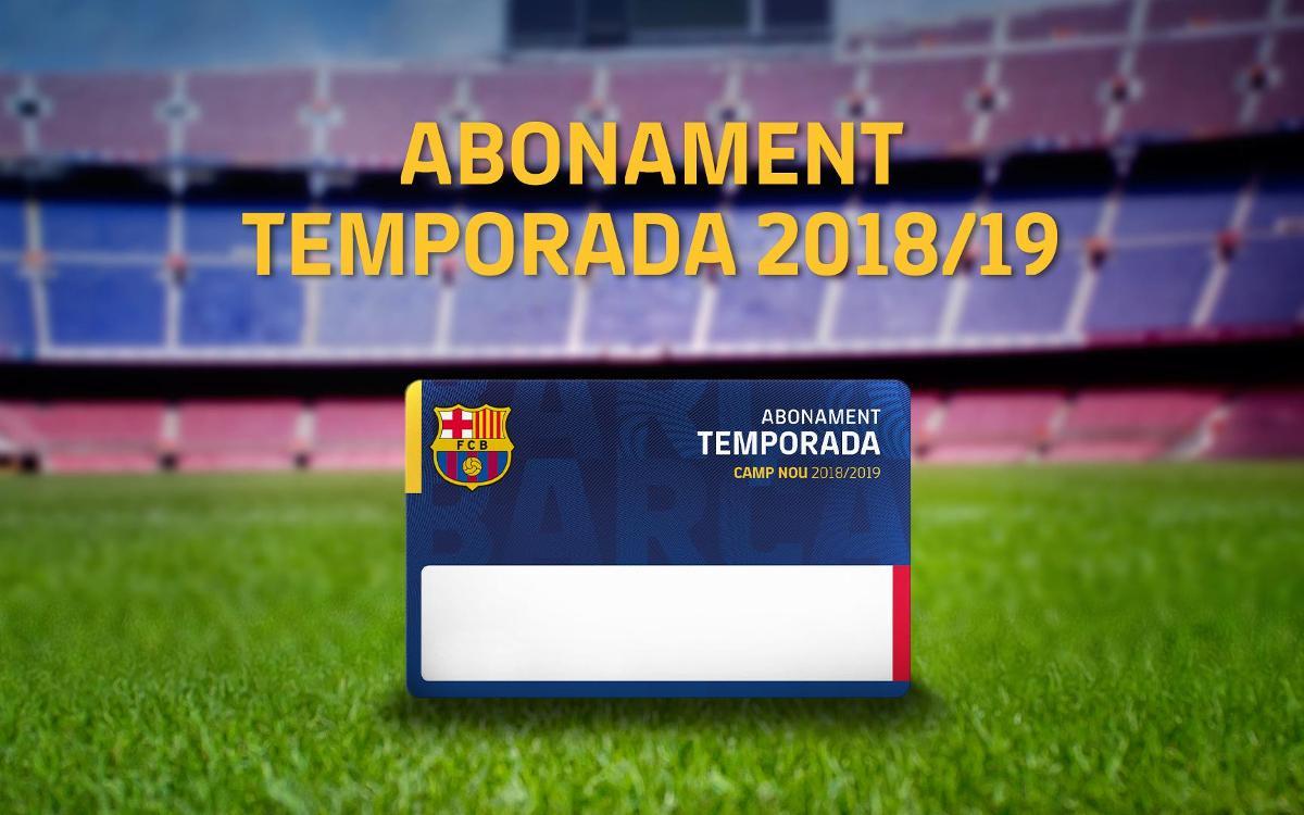 Renovació dels abonaments per a la temporada 2018/19