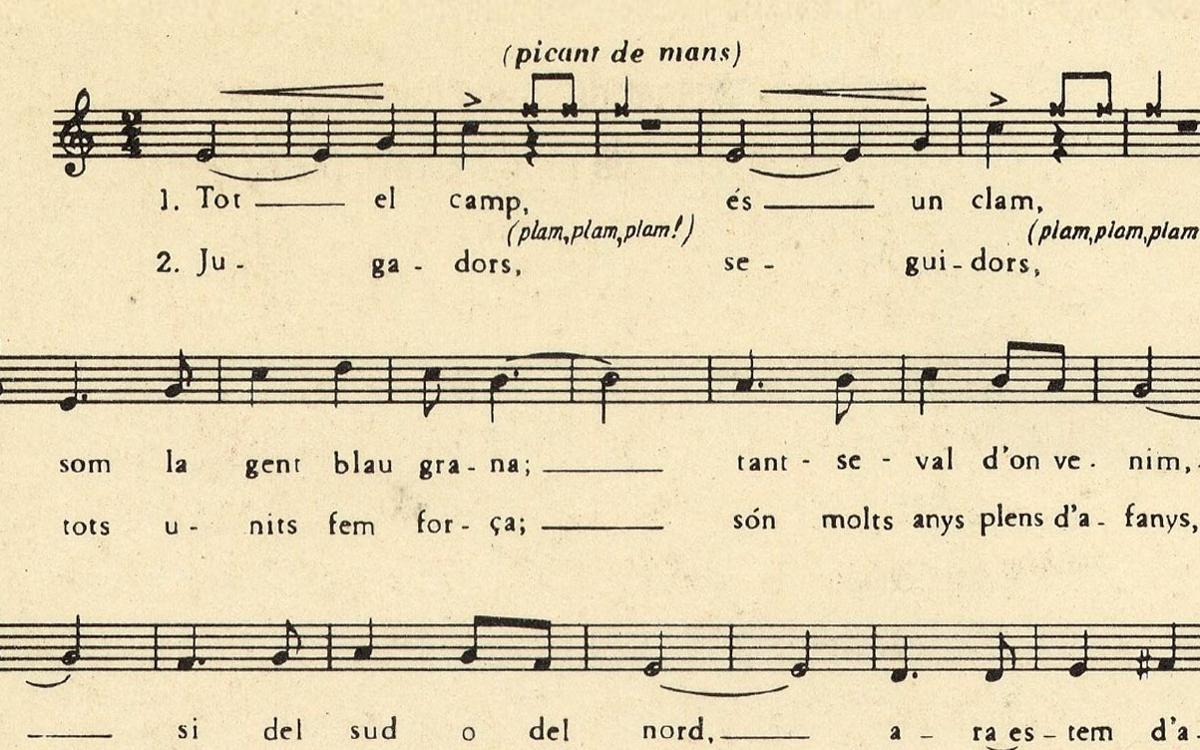 Una imagen de una partitura antigua del Cant del Barça