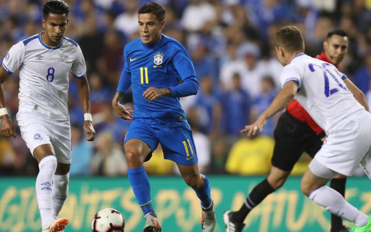Gol de Coutinho en el triunfo de Brasil