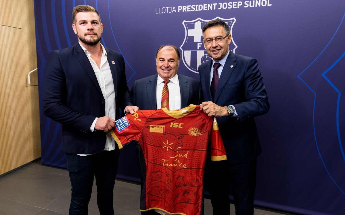 Homenaje a los Dragons Catalans tras ganar la Challenge Cup de rugby