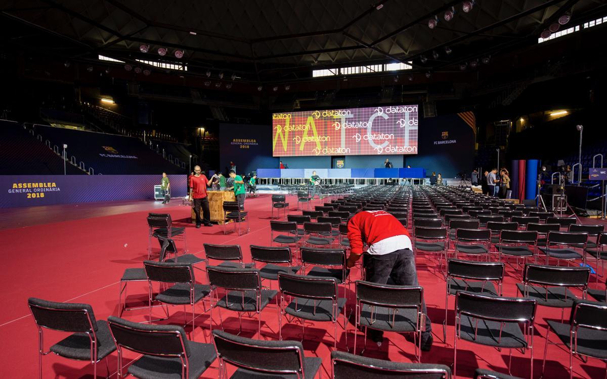 El Palau Blaugrana acull aquest dissabte l'Assemblea General Ordinària de Socis del FC Barcelona