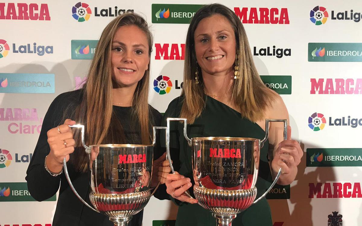 Sandra Paños y Lieke Martens, premiadas en la Gala Marca