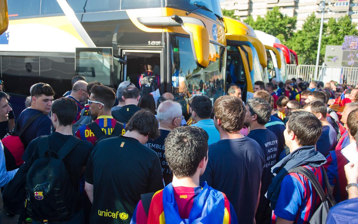 Se inicia el nuevo método para solicitar el parking de autobuses en el Camp Nou