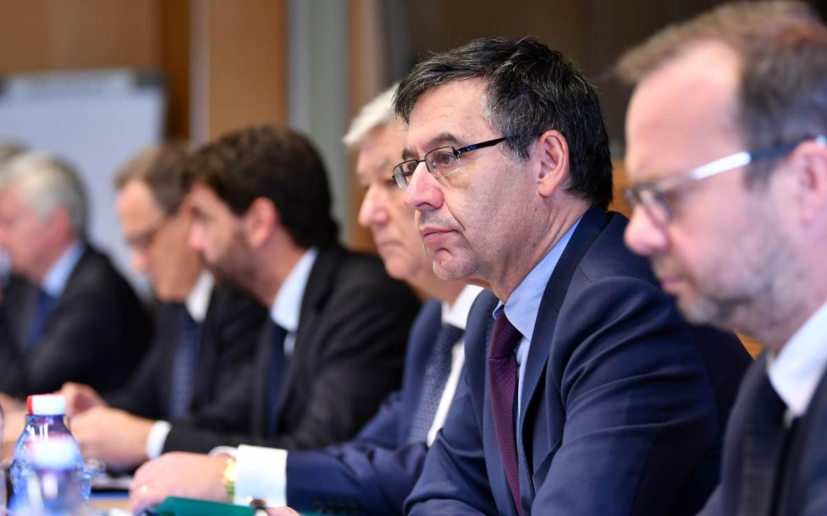 Josep Maria Bartomeu takes part in an intense day at UEFA