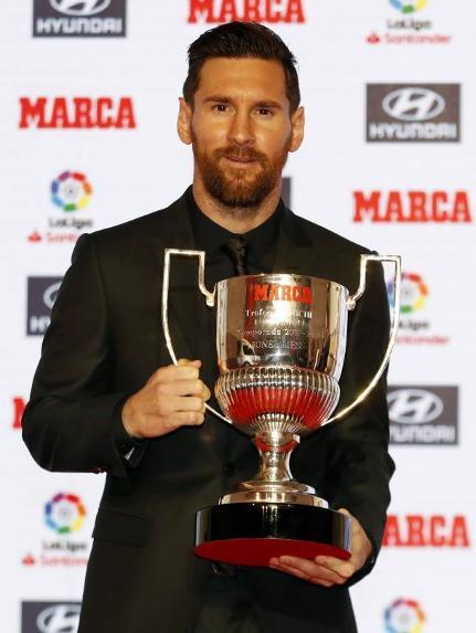 Leo Messi receives 2017-18 Pichichi Trophy